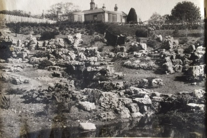 1956 Rock garden during restoration
