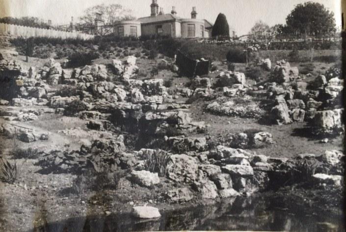 1956 Rock garden during restoration